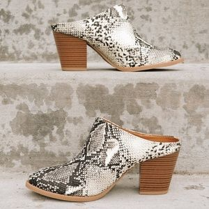 Shoes - Snakeskin slide mules NWT